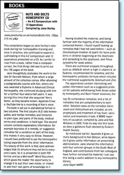 Click here to see a review of Nuts and Bolts Homeopathy from Homeopathy in Practice, ARH Journal (Spring 2011)